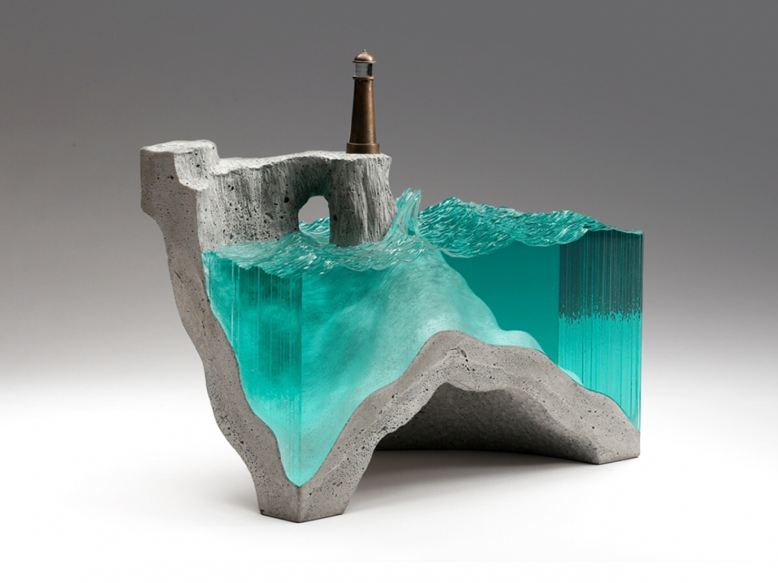 Amazing sheets of glass cut into stunning layered ocean scenes