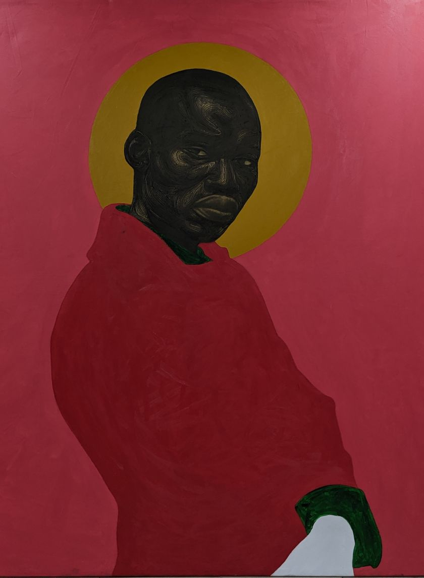 Red Suit (2020), acrylic, oil and charcoal on canvas, 200cm x 180cm. Courtesy of the artist Collins Obijiaku and ADA  contemporary art gallery