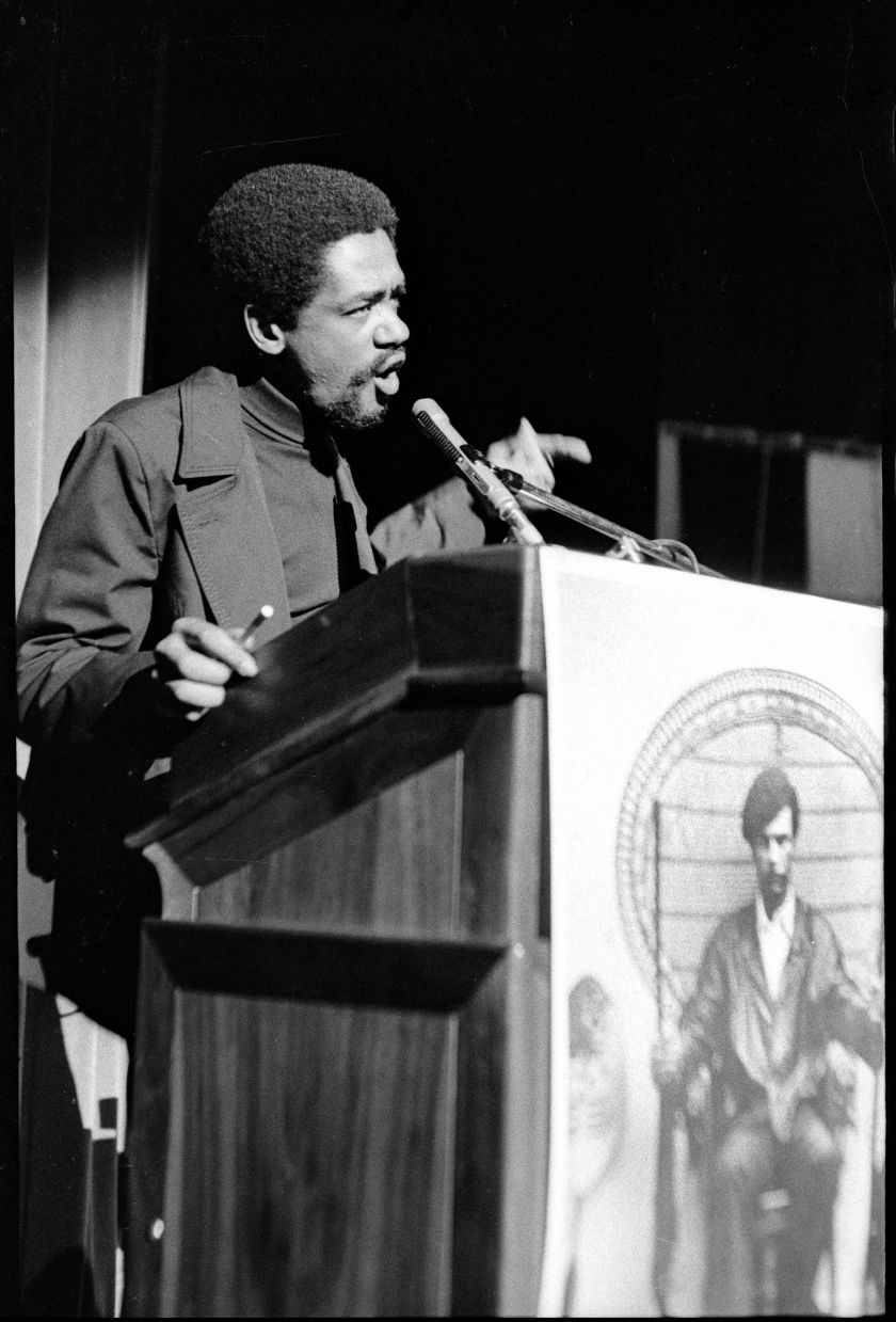 """Bobby Seale, chairman of The Black Panther Party speaking at the United Front Against Fascism (UFAF) was an anti-fascist conference organized by the Black Panther Party and held in Oakland, CA, from July 18 to 21, 1969. From, """"The Lost Negatives,"""" photographs by Jeffrey Henson Scales. Credit: Jeffrey Henson Scales"""