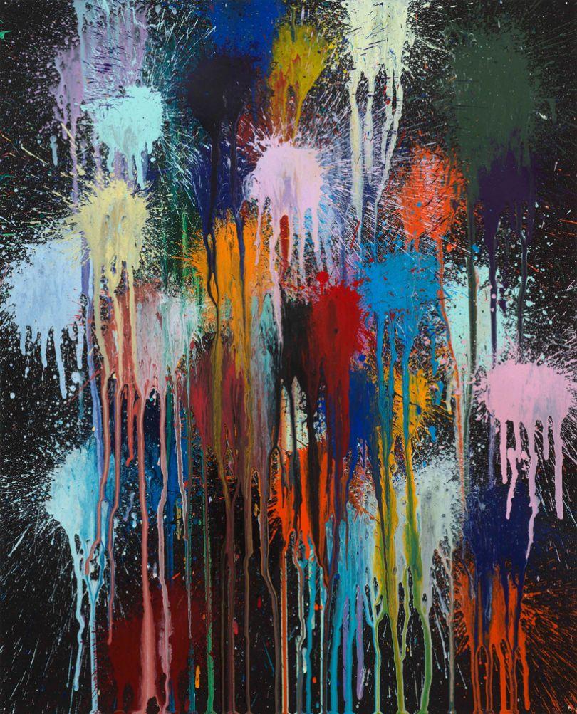 Ian Davenport Splat Attack no.1 2017 acrylic on paper 63 x 50 cm