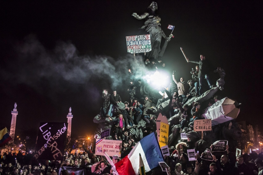 Spot News, second prize singles: Demonstration against terrorism in Paris, after a series of five attacks occurred across the Île-de-France region, beginning at the headquarters for satirical newspaper Charlie Hebdo. Corentin Fohlen.