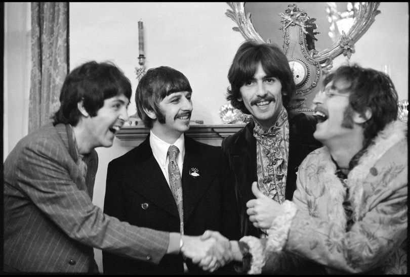 Linda McCartney (1941–1998) The Beatles at Brian Epstein's home in Belgravia at the launch of Sgt. Pepper's Lonely Hearts Club Band. London, 1967 Bromide print © 1967 Paul McCartney / Photographer: Linda McCartney