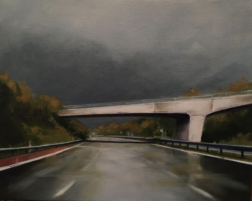 Jen Orpin: Gary Skies Over Snowhill Bridge (Oil on Canvas)