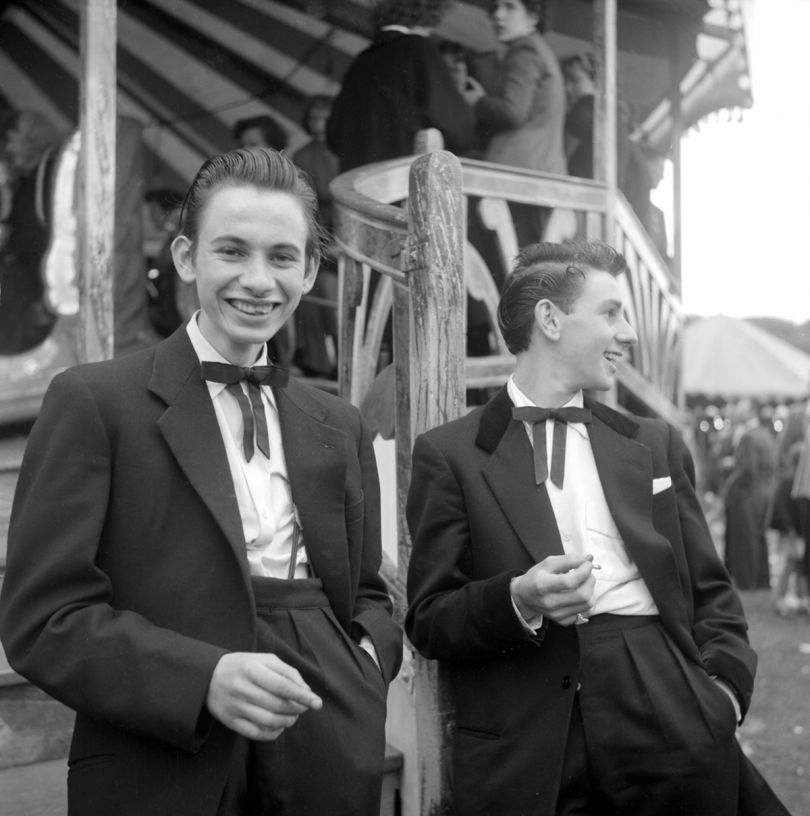 Two unnamed Teddy Boys at a funfair January 1955 © Ken Russell / Topfoto.co.uk