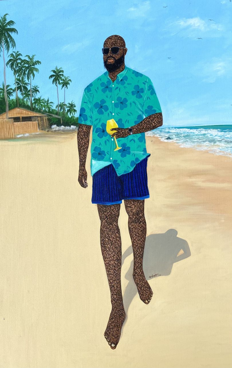"""Hamid Nii Nortey, """"Sky above , sand below , peace within"""", 2021. Acrylic on canvas. Courtesy of the artist and of ADA contemporary art gallery"""