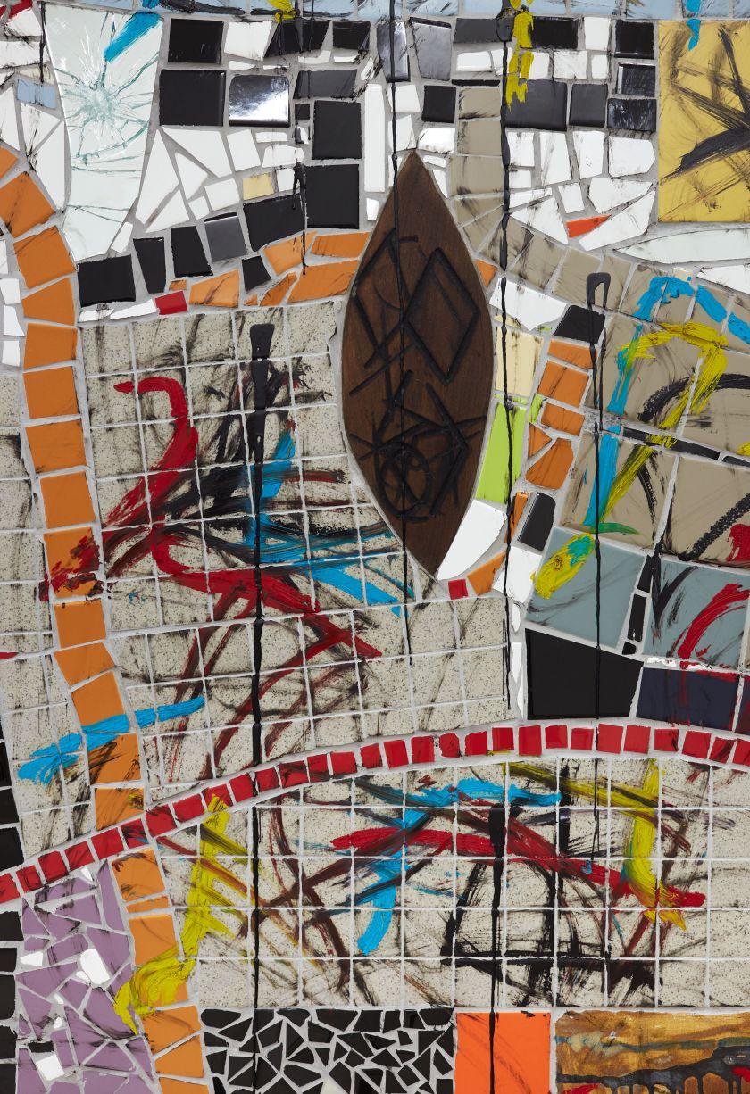 Rashid Johnson The Broken Five (detail) 2020 Ceramic tile, mirror tile, spray enamel, oil stick, black soap, wax 250.2 x 430.5 cm  Photo: Martin Parsekian