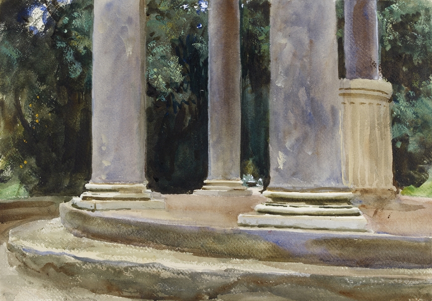 John Singer Sargent, Villa Borghese, Temple of Diana, c. 1906-07, watercolour on paper, over preliminary pencil, 35.2 x 50.3 cm, The Ashmolean Museum, Oxford. Presented by Mrs Ormond, the artist's sister, 1937. Image © Ashmolean Museum, University of Oxford