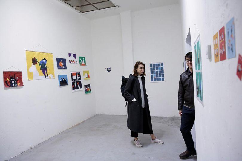 Garip's work shown in an exhibition