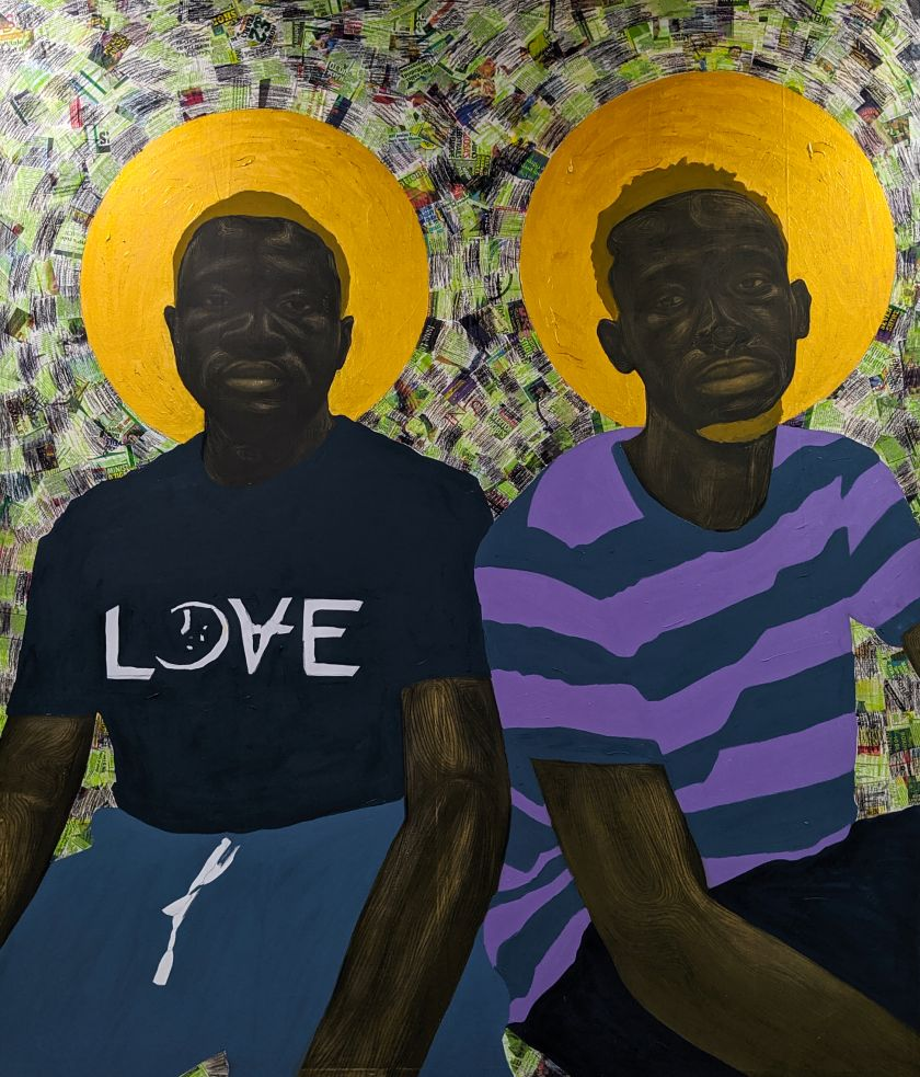 Papa and Joshua (2020), acrylic, oil and charcoal on canvas, 200cm x 180cm. Courtesy of the artist Collins Obijiaku and ADA  contemporary art gallery