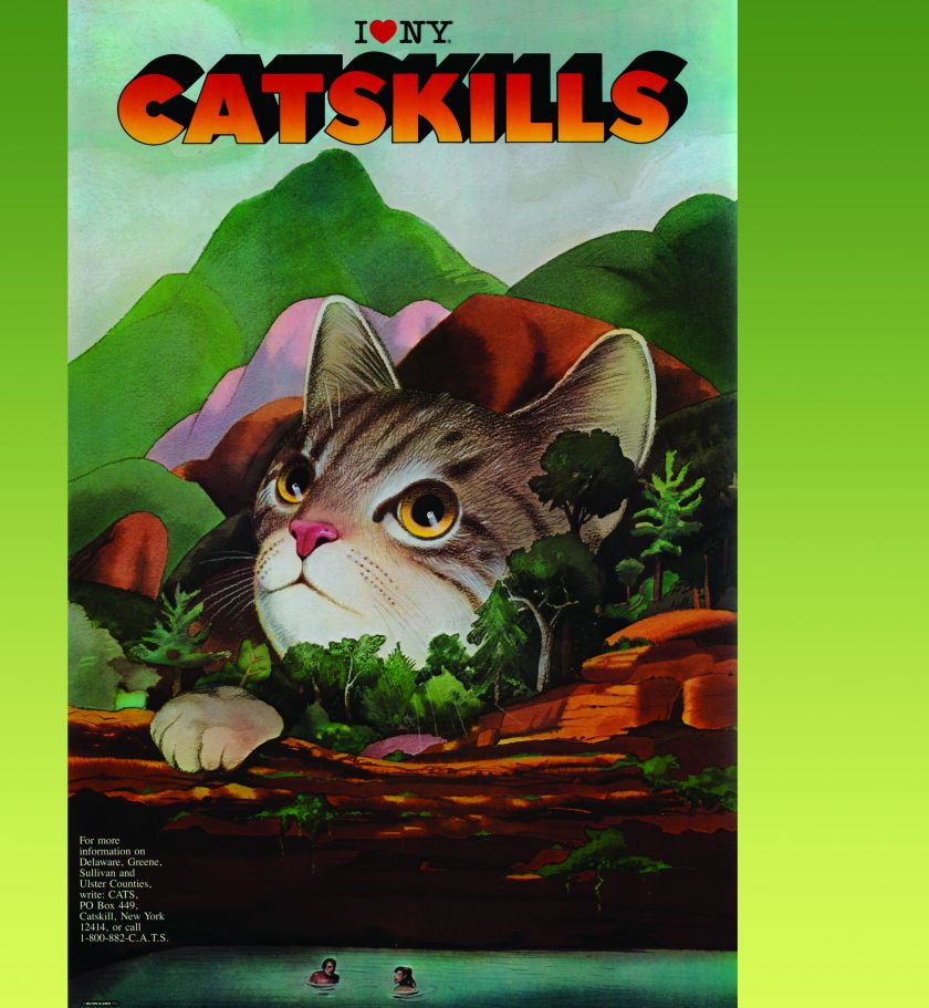 I Love New York Catskills, 1985; one of the many iterations of cat and Catskills produced for the New York Board of Tourism.  Courtesy of Milton Glaser Studio