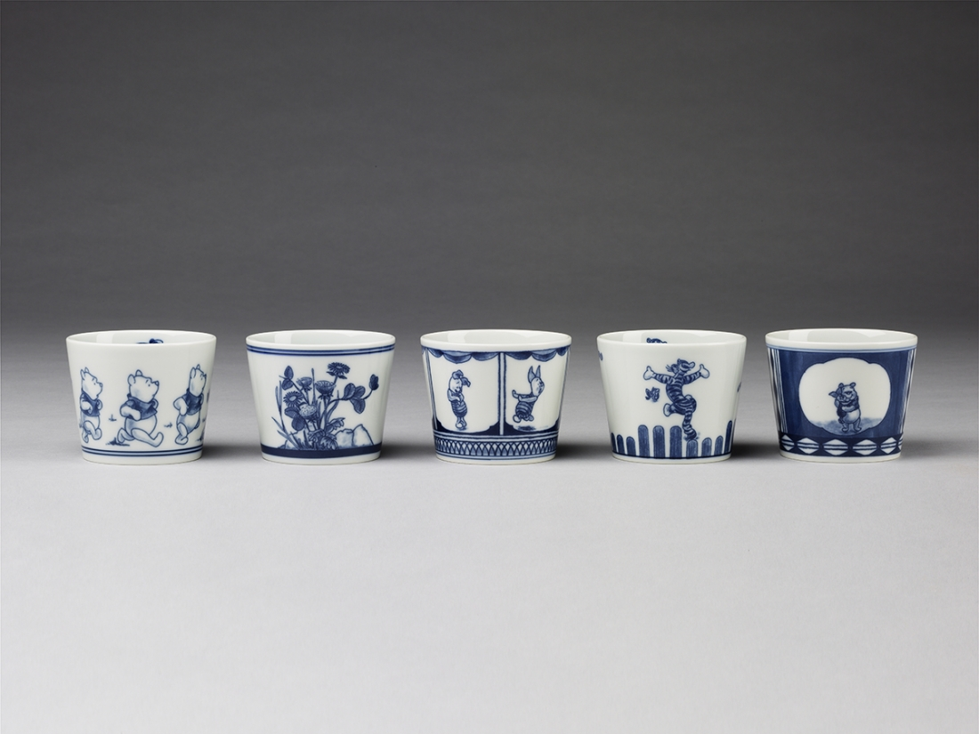 Winnie the Pooh saki cups, blue & white porcelain, made by Hasami for the Walt Disney Corporation, c. 2014 (c) Victoria and Albert Museum, London