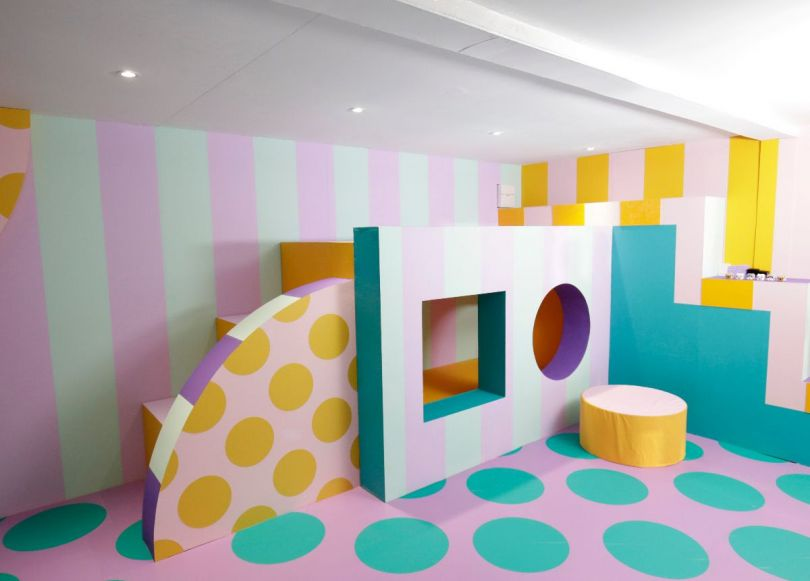 The bold colour and pattern of HOUSE OF DOTS' interiors are inspired by the LEGO DOTS range. Photo credit Getty Images.