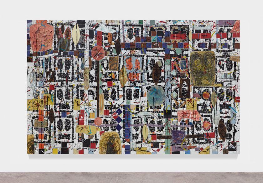 Rashid Johnson Broken Crowd 2020 Ceramic tile, mirror tile, spray enamel, oil stick, black soap, wax 240.7 x 403.9 x 3 cm Photo: Martin Parsekian