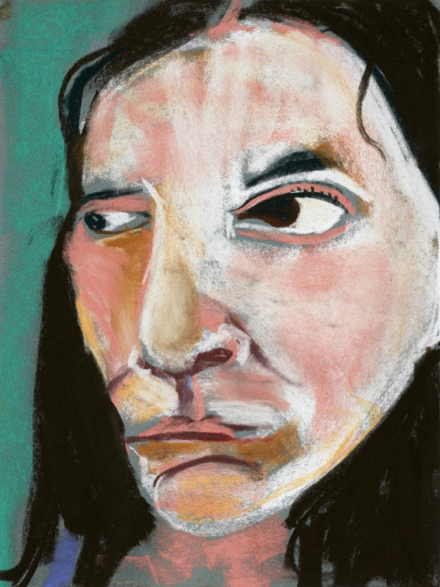Chantal Joffe Self-Portrait, 2015 Pastel on paper 47.6 x 37.8 x 3.8 cm 18 3/4 x 14 7/8 x 1 1/2 in © Chantal Joffe Courtesy the artist and Victoria Miro, London / Venice