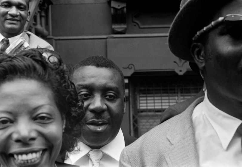 (From left) Mary Lou Williams, Emmett Berry, Thelonious Monk. Top, Oscar Pettiford © Art Kane: Harlem 1958