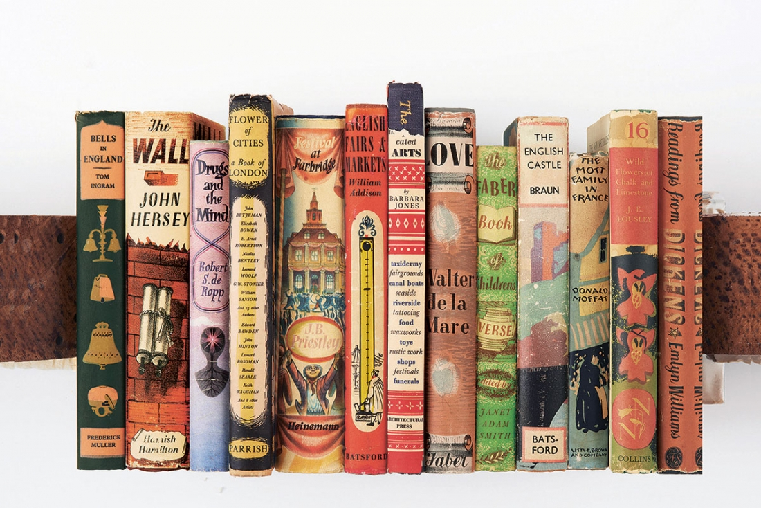 the illustrated dust jacket celebrates the history of the book