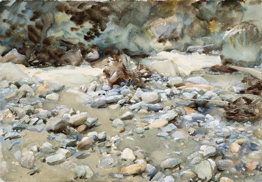John Singer Sargent, Bed of a Torrent, c. 1904, watercolour on paper, over preliminary pencil, 36 x 51 cm, Royal Watercolour Society, London. Image © Justin Piperger