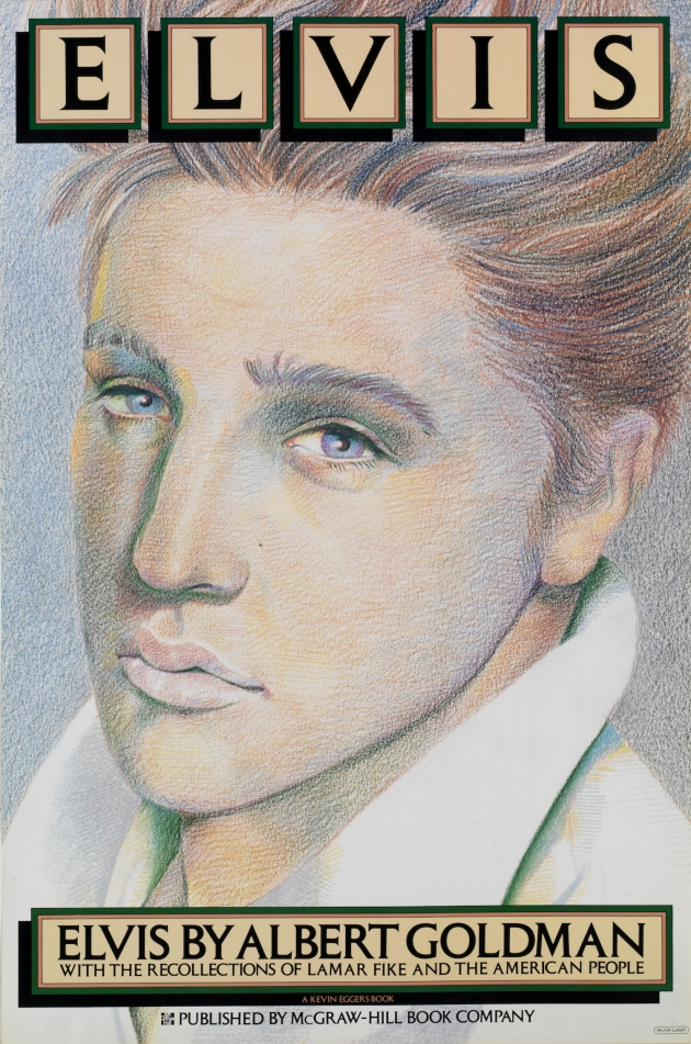 "All images © 2018 Milton Glaser. Elvis 1979. 4-color offset lithography, 36 x 24"" Client: McGraw-Hill Book Company"