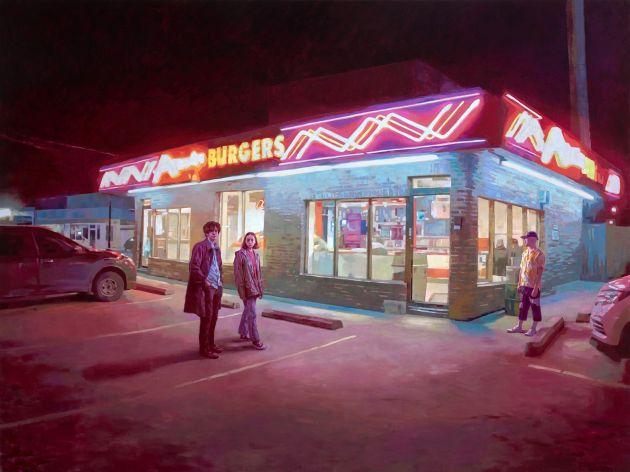 Keita Morimoto, Night Gazers, 2019, oil on linen, 72 x 96 in., courtesy of Nicholas Metivier Gallery, Toronto