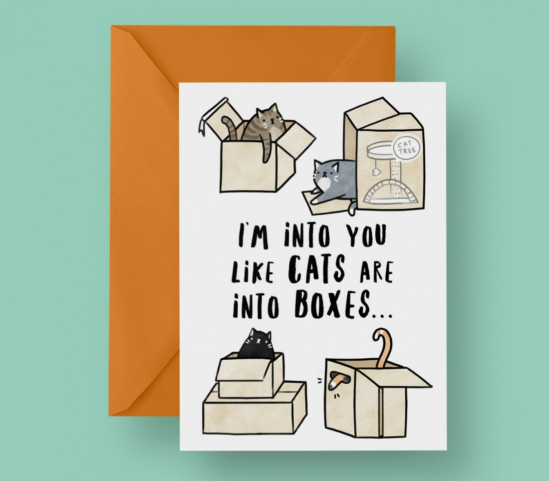 Priced at £2.75 | [Buy the card](https://www.etsy.com/uk/listing/489974276/im-into-you-like-cats-are-into-boxes?ga_order=most_relevant&ga_search_type=all&ga_view_type=gallery&ga_search_query=valentines%20card&ref=sr_gallery-1-30)