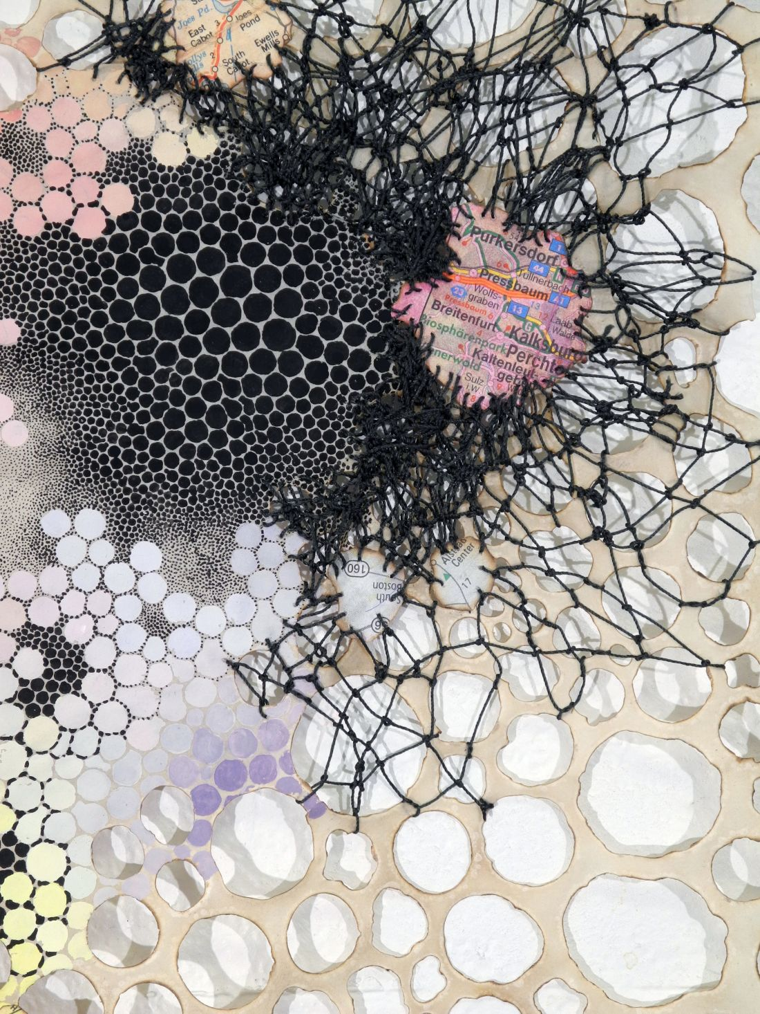 "Impedos Karen Margolis Impedes, 2018 watercolor, gouache, maps, thread on Abaca paper 14""x11"" Courtesy of the artist and Garis & Hahn"