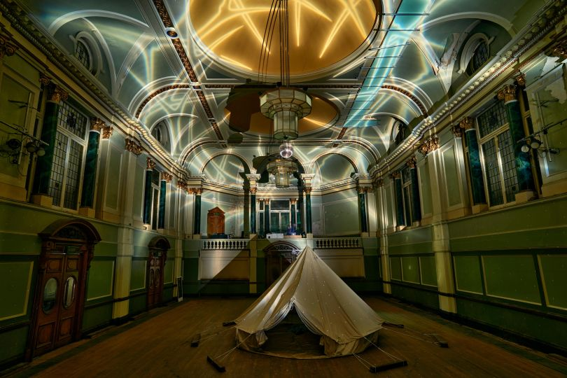 Hugo Dalton, Crown of Thorns, 2020, light projection, Photo: Tom Mannion Landscape