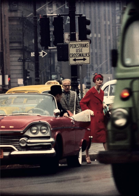 Anne St. Marie + cruiser, New York, 1958 (Vogue) © William Klein