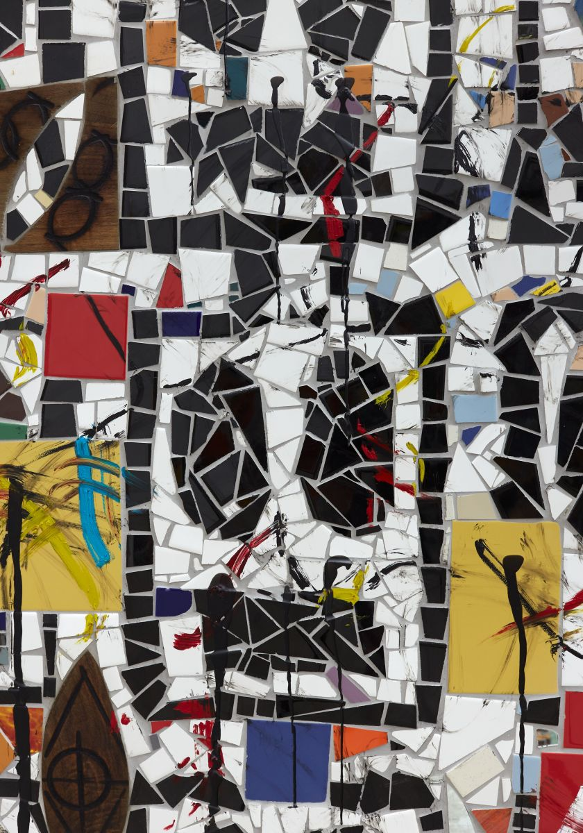 Rashid Johnson Broken Crowd (detail) 2020 Ceramic tile, mirror tile, spray enamel, oil stick, black soap, wax 240.7 x 403.9 x 3 cm Photo: Martin Parsekian