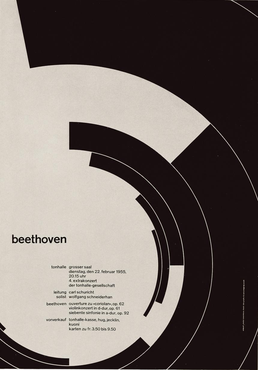 Beethoven, poster, Josef Müller-Brockmann, 1955, Tonhalle Zürich, Switzerland; image courtesy: © Josef Müller-Brockmann Archive