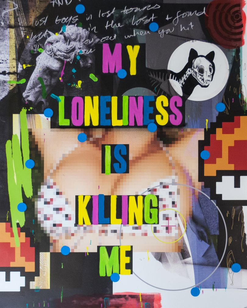 MY LONELINESS IS KILLING ME, Digital print, acrylic, marker, spraypaint, vinyl, graphite & india ink on cold press watercolour paper, 150x120cm, 2015  © Stuart Semple