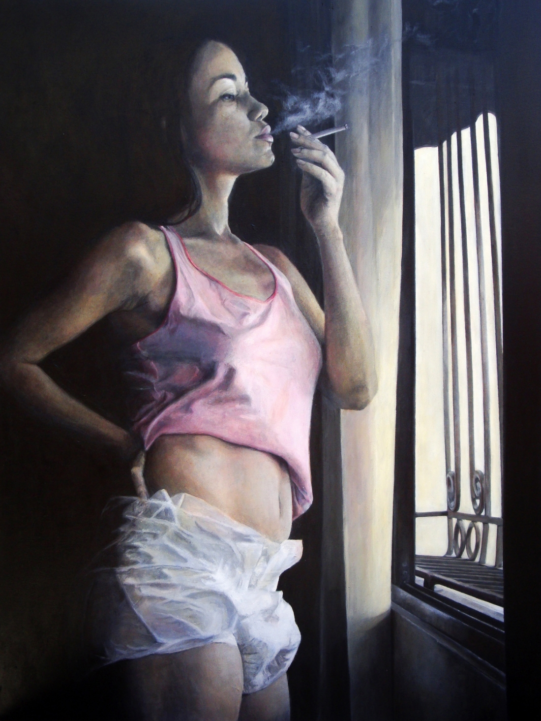 Paula Saneaux - The Cigarette - Acrylic on Canvas - 48x36 in - 2009