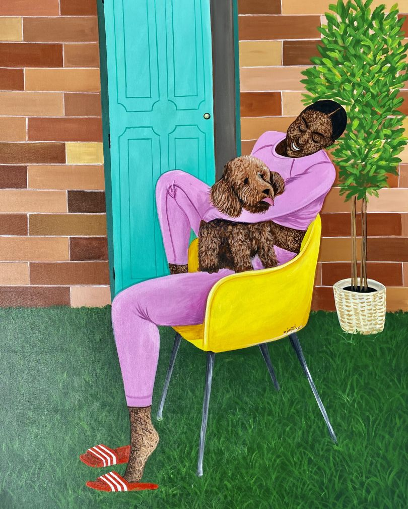 """Hamid Nii Nortey, """"Some Angels choose fur over wings"""", 2021. Acrylic on canvas. Courtesy of the artist and of ADA contemporary art gallery"""