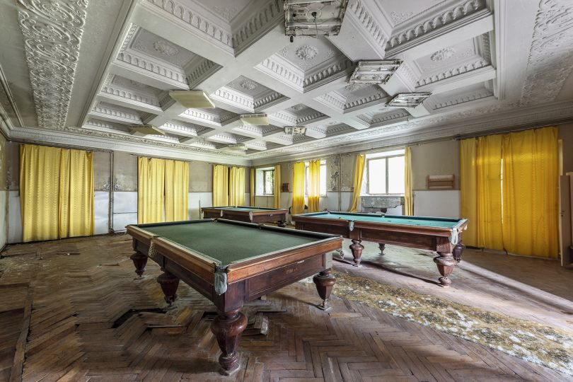 Billiard tables are left to rot inside this leisure room. Sanatoria were immensely popular with the Soviet elite and holidays were arranged via a state-funded voucher system. Tskaltubo, Georgia. © Reginald Van de Velde
