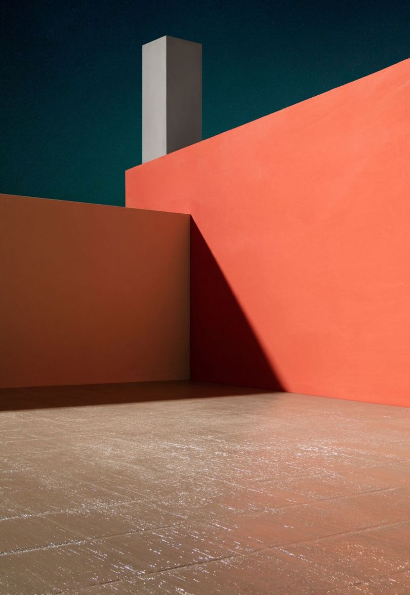 Courtyard with Orange Wall, 2017© James Casebere
