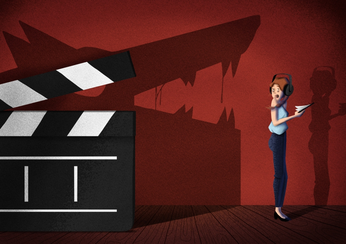 Illustration for Dutch daily de Volkskrant about sexual harassment in film industry.