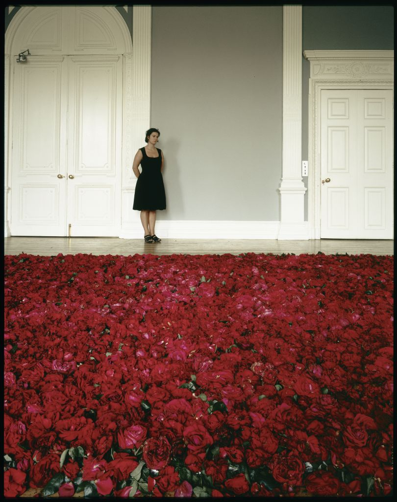 Anya Gallaccio, photographed with Red on Green at the ICA, July 1992.