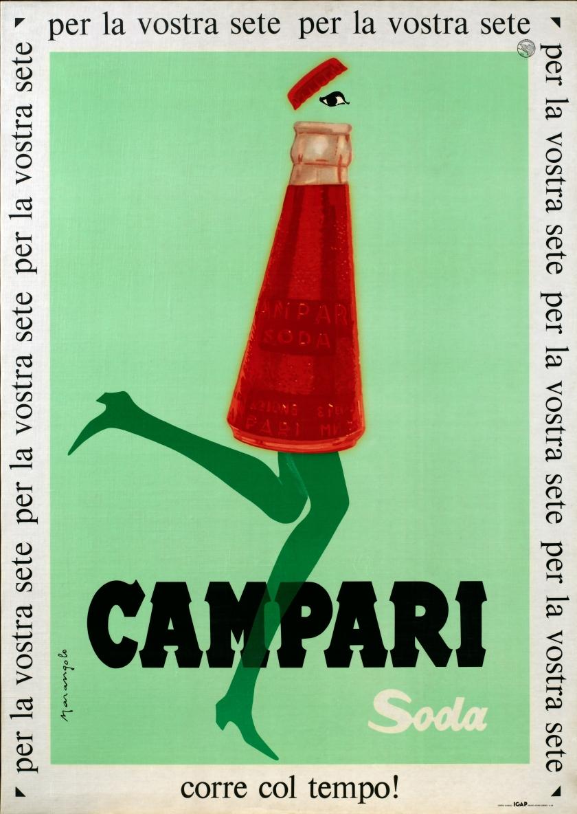 Franz Marangolo, Campari Soda corre col tempo!, 1960s. Campari Soda is in Line with the Times! Lithographic colour print on paper