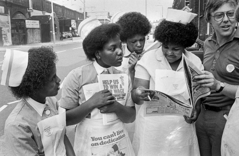 Nurses protesting over pay,  Bethnal Green Hospital © Neil Martinson