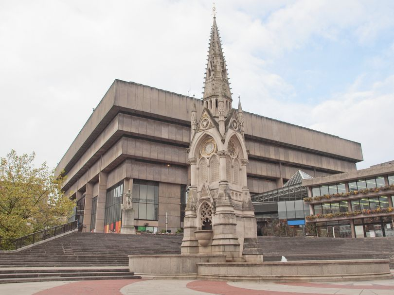 In the background is Birmingham's now-closed brutalist Central Library Image Credit: [Shutterstock](http://www.shutterstock.com/)