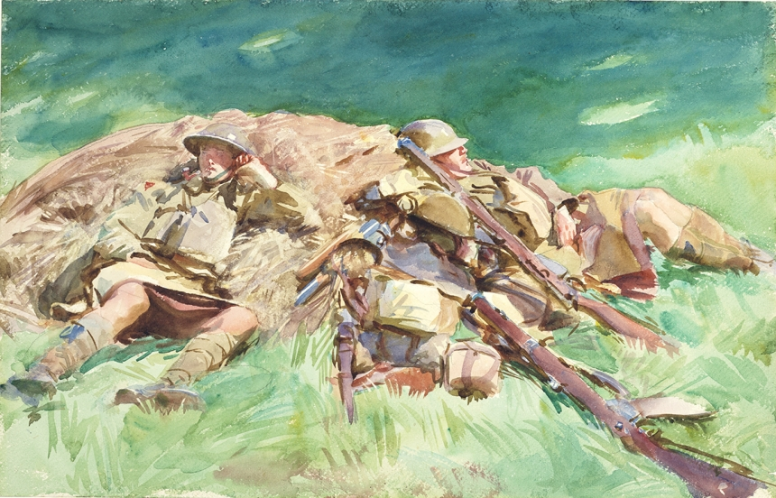 John Singer Sargent, Highlanders Resting at the Front, 1918, watercolour on paper, over preliminary pencil, 34.3 cm x 53.5 cm, © Fitzwilliam Museum, Cambridge
