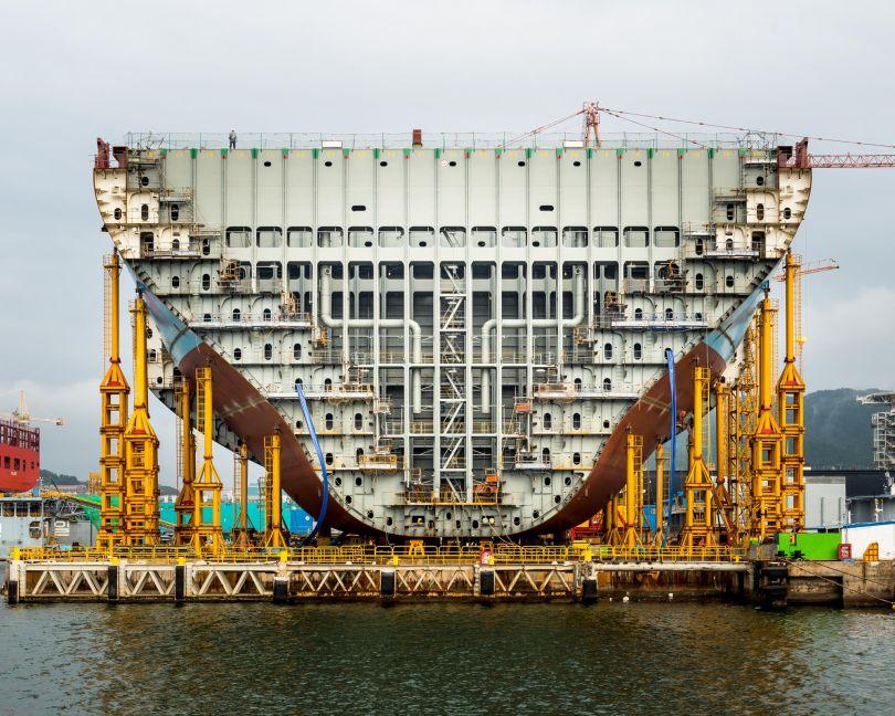 Maersk Triple E container ship under construction; Daewoo Shipbuilding & Marine Engineering, South Korea © Alastair Philip Wiper