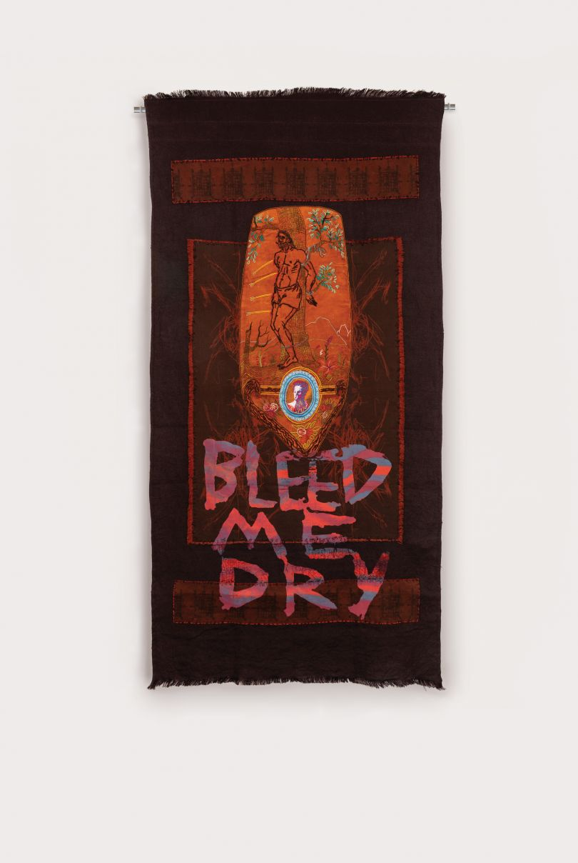 Henry Hussey, Bleed Me Dry , 2019. Screen print: digitally printed linen and canvas, dyed hessian and yarn, bleached velvet, embroidery, 260 x 130 cm. Courtesy of Anima Mundi