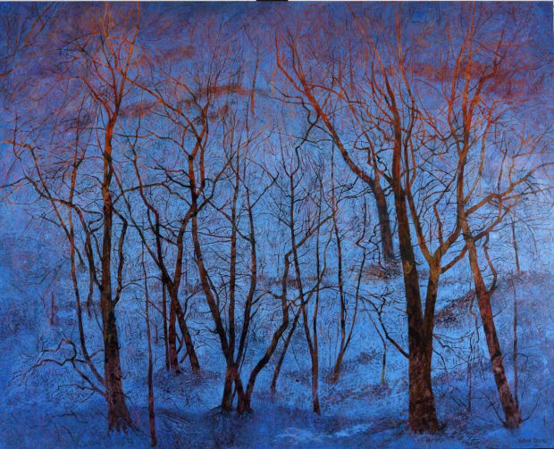 Blue Snow and Fiery Trees, 2011 oil on linen, 101.5 x 127 cm