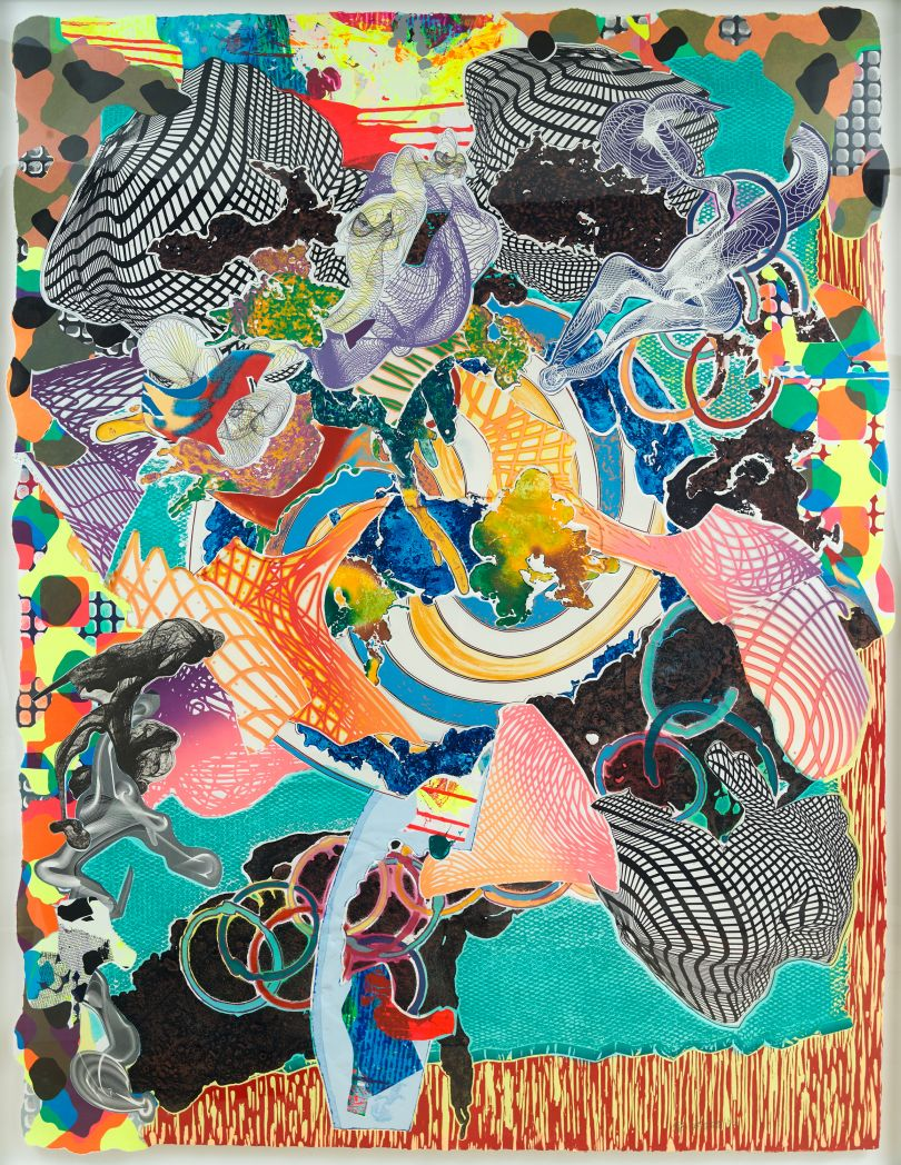 Frank Stella, American, born 1936. Juam, 1997. Relief, etching, aquatint, lithograph, screenprint, woodcut, and engraving on white TGL handmade, hand- colored paper. Two sheets (irregularly shaped and overlapping): 201.9 × 156.2 cm. Collection of Preston H. Haskell, Class of 1960 / © 2017 Frank Stella / Artists Rights Society (ARS), New York