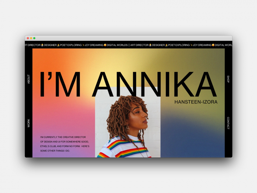 Annika Hansteen-Izora's portfolio website, made using Editor X