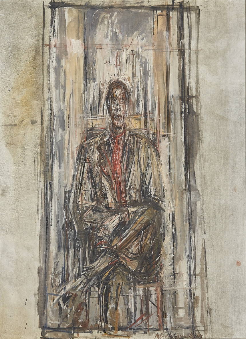 Diego Seated 1948 Oil paint on canvas 80.5 x 65 cm Sainsbury Centre for the Visual Arts, Norwich © Alberto Giacometti Estate, ACS/DACS, 2017