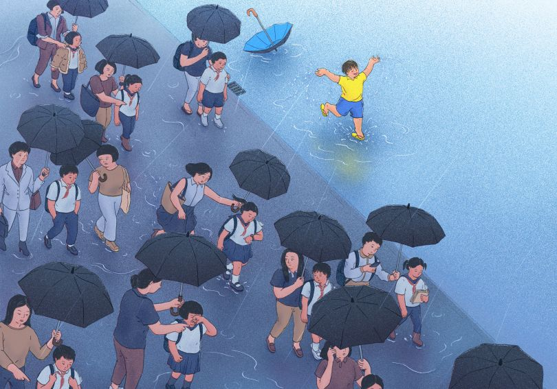 Kid without a mom is like a rainy day © Xinmei Liu