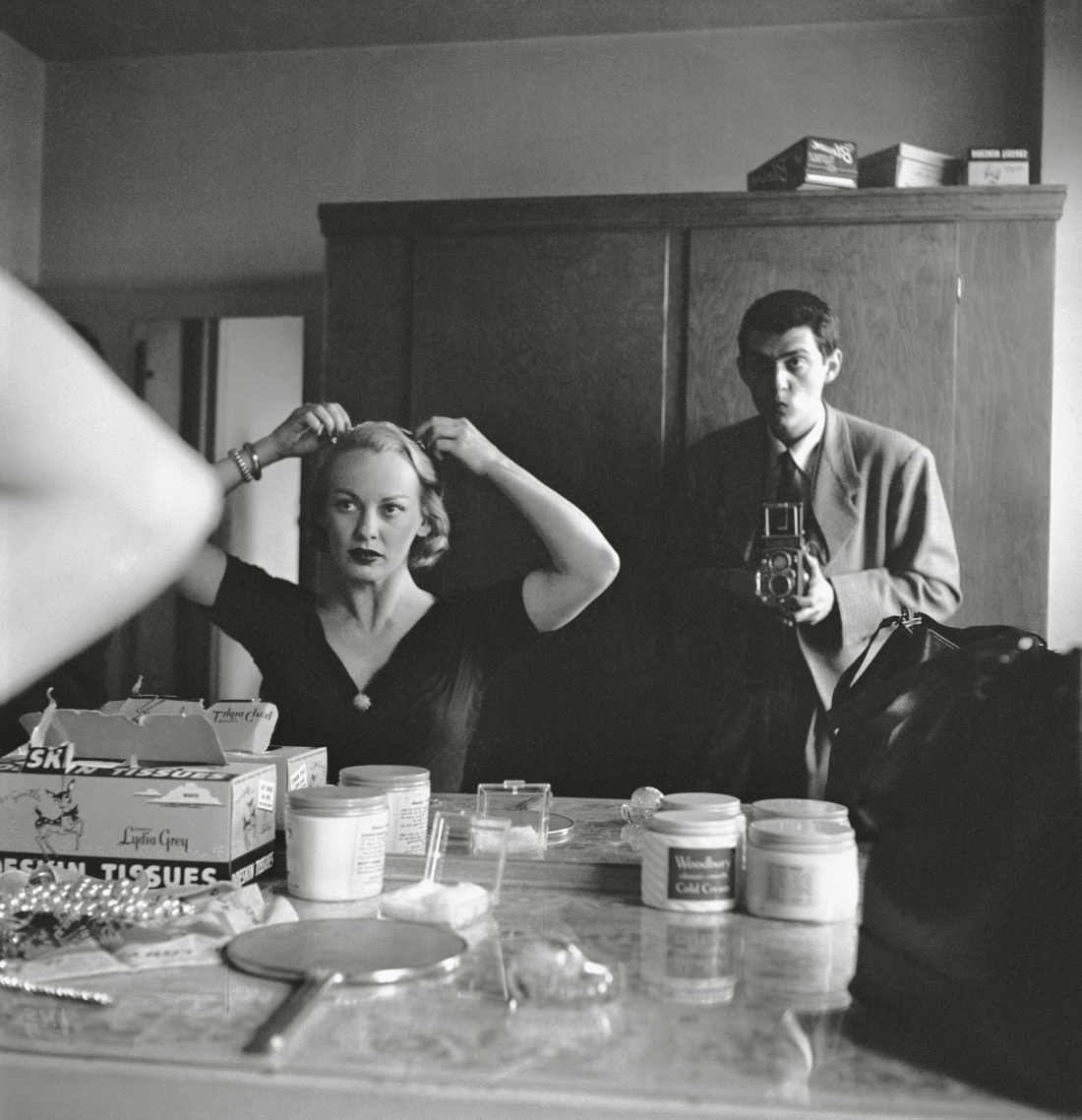 """Stanley Kubrick, Stanley Kubrick with Faye Emerson from """"Faye Emerson: Young Lady in a Hurry,"""" 1950. Copyright: © SK Film Archives/Museum of the City of New York"""