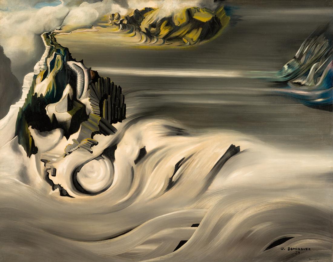 Oscar Dominguez, Paysage cosmique, 1938-1939, Oil on canvas, 73.2 x 92 cm, Courtesy Olivier Malingue Gallery