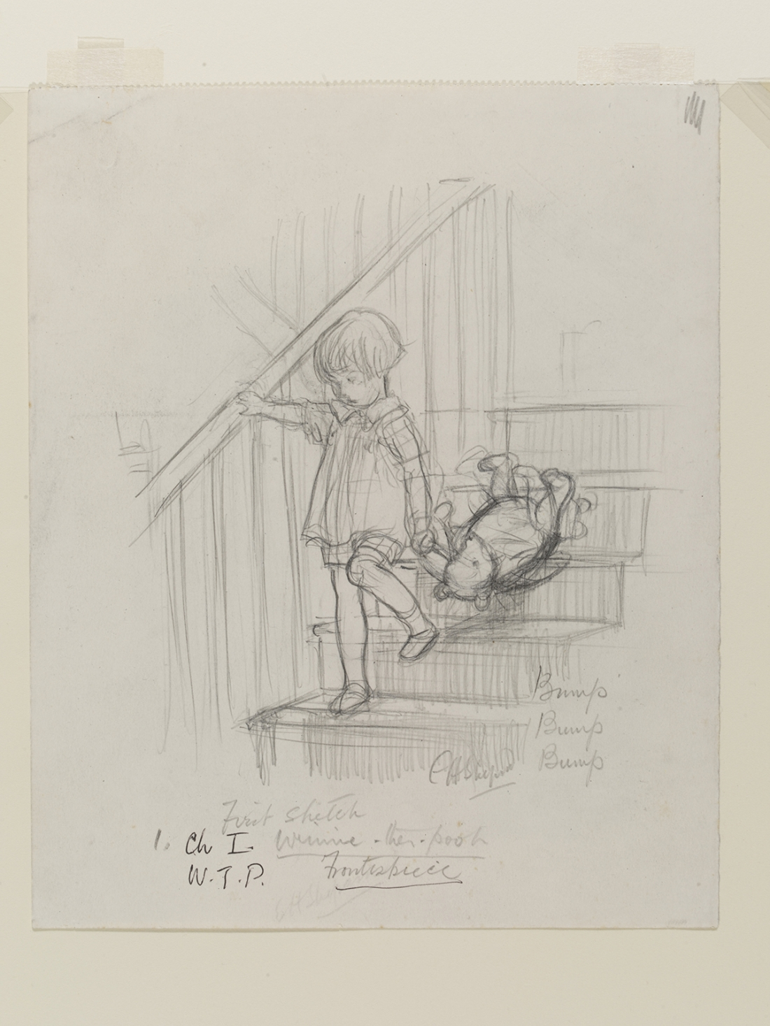 'Bump, bump, bump', Winnie-the-Pooh chapter 1, pencil drawing by E. H. Shephard, 1926. © The Shepard Trust, reproduced with permission from Curtis Brown